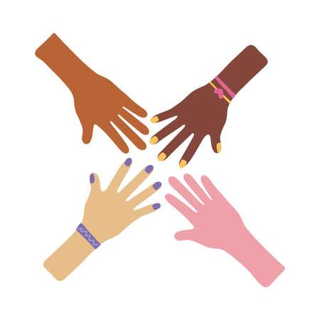 Illustration pour interracial hands teamwork flat style icon vector illustration design - image libre de droit