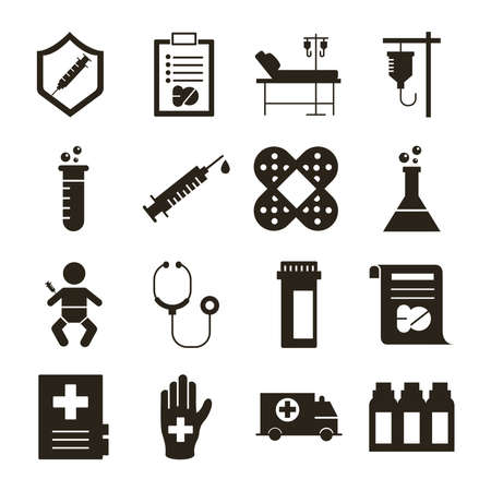 Illustration for bundle of sixteen medical set collection icons vector illustration design - Royalty Free Image