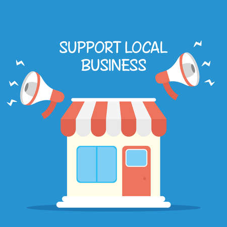 Illustration for support local business campaign with megaphones and store building vector illustration design - Royalty Free Image
