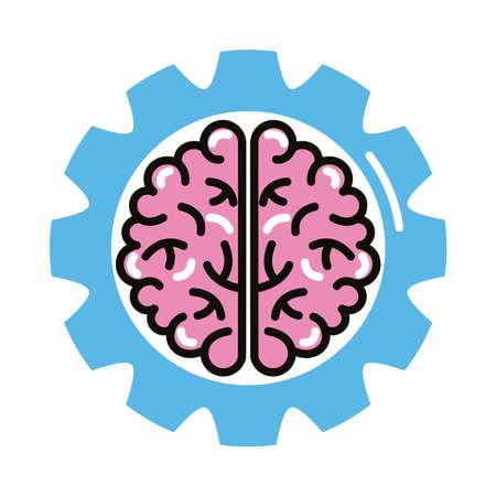 Illustration pour brain human with gear line and fill style icon vector illustration design - image libre de droit