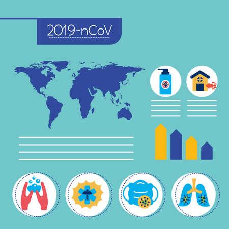 Illustration pour covid19 pandemic infographics with earth planet vector illustration design - image libre de droit