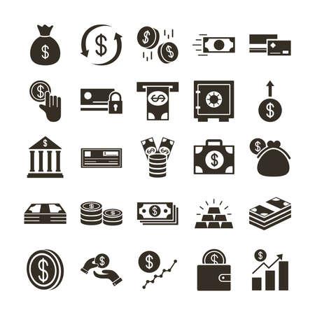 Illustration for bundle of money currency set icons vector illustration design - Royalty Free Image