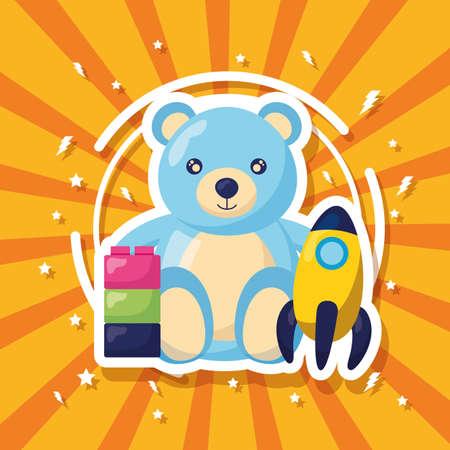 Illustration pour kids toys bear rocket and blocks vector illustration - image libre de droit