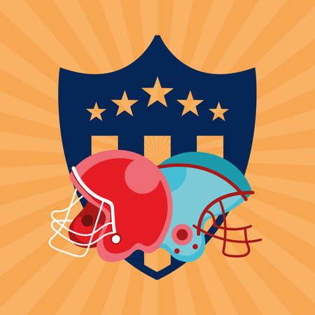 Illustration pour american football sport poster with helmets vector illustration design - image libre de droit