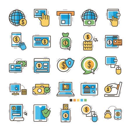 Illustration pour bundle of online banking set icons vector illustration design - image libre de droit
