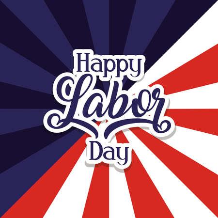 Illustration pour happy labor day celebration with usa flag vector illustration design - image libre de droit