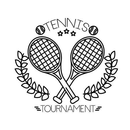 Illustration pour tennis balls and lettering with rackets line style vector illustration design - image libre de droit