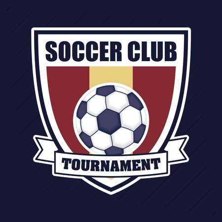 Illustration pour football soccer sport poster with balloon in shield vector illustration design - image libre de droit