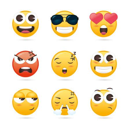 Illustration pour group of emojis faces funny characters vector illustration design - image libre de droit