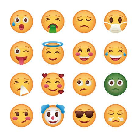 Illustration for bundle of emojis faces set icons vector illustration design - Royalty Free Image