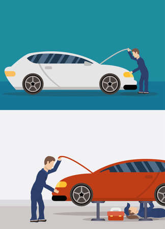 Illustration for team of mechanics working characters vector illustration design - Royalty Free Image