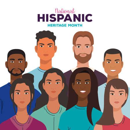Illustration pour national hispanic heritage month, with women and men together, diversity and multiculturalism concept vector illustration design - image libre de droit