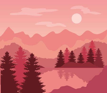 Illustration pour pink landscape with pine trees and mountains vector illustration design - image libre de droit