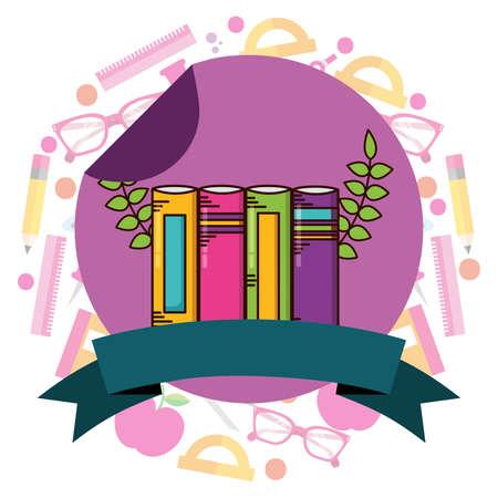 Illustration pour books school supplies teacher day sticker vector illustration - image libre de droit