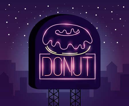 Illustration pour sweet donut food neon light label vector illustration design - image libre de droit