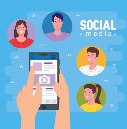 Illustration for social media, group people communicating by smartphone vector illustration design - Royalty Free Image