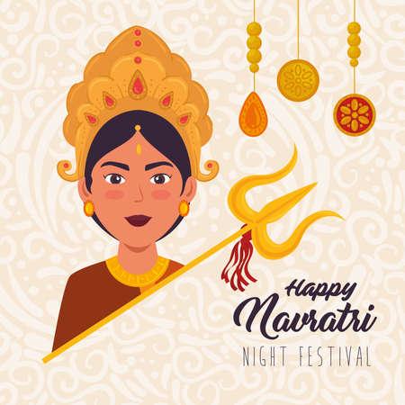 Illustration pour happy navratri celebration poster with face of maa durga with decoration vector illustration design - image libre de droit