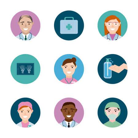 Illustration for bundle of medical staff set icons vector illustration design - Royalty Free Image