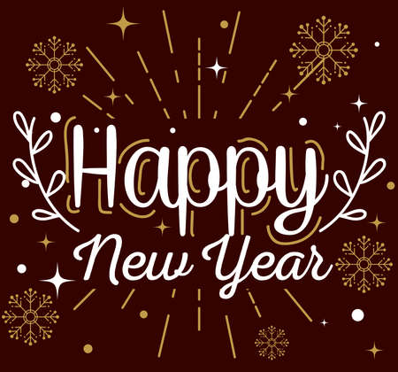 Illustration pour Happy new year with snowflakes design, Welcome celebrate and greeting theme Vector illustration - image libre de droit