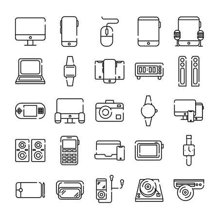 Illustration pour bundle of twenty five devices electronics set icons vector illustration design - image libre de droit