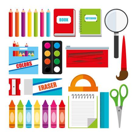 Illustration pour School icon set, Concept of supplies objects education study and lesson Vector illustration - image libre de droit
