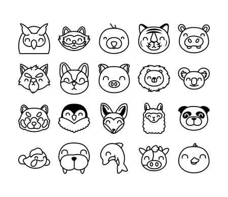 Illustration pour bundle of cute animals characters vector illustration design - image libre de droit
