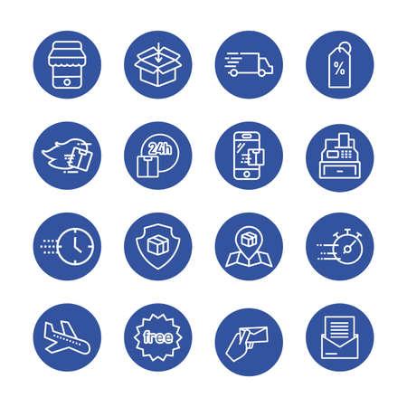 Illustration for bundle of delivery set icons vector illustration design - Royalty Free Image