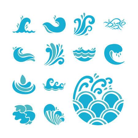 Illustration pour bundle of waves ocean set icons vector illustration design - image libre de droit