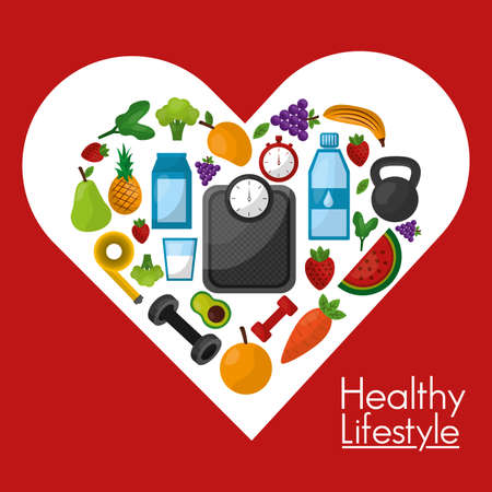 Foto per Healthy lifestyle design, Fitness bodybuilding bodycare activity exercise and diet theme Vector illustration - Immagine Royalty Free