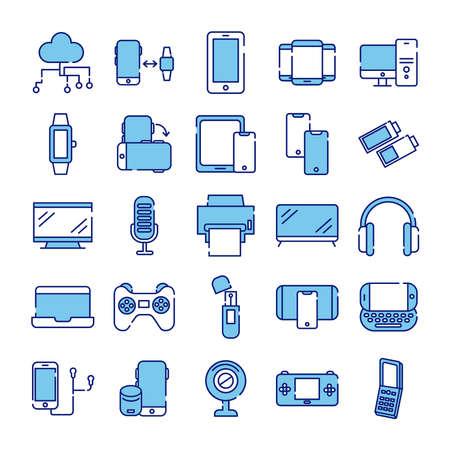 Illustration for bundle of twenty five devices electronics set collection icons vector illustration design - Royalty Free Image