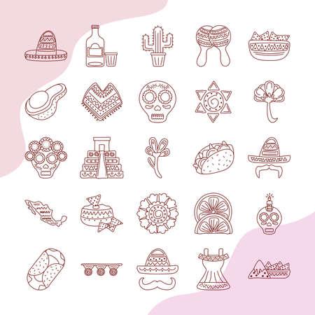 Ilustración de bundle of twenty five mexican ethnicity set collection icons vector illustration design - Imagen libre de derechos