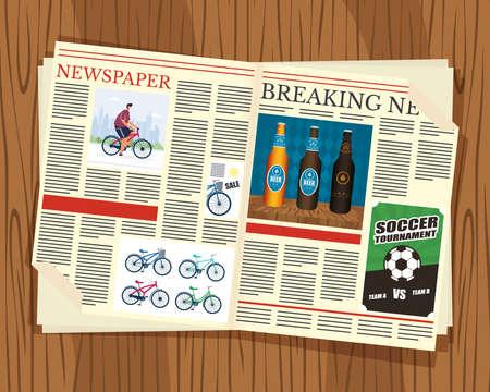 Illustration pour news paper communication with wooden background vector illustration design - image libre de droit