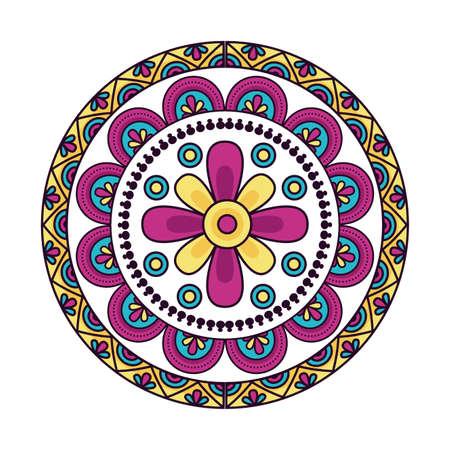 Illustration pour Mandale design, Bohemic ornament meditation indian decoration ethnic arabic and mystical theme Vector illustration - image libre de droit