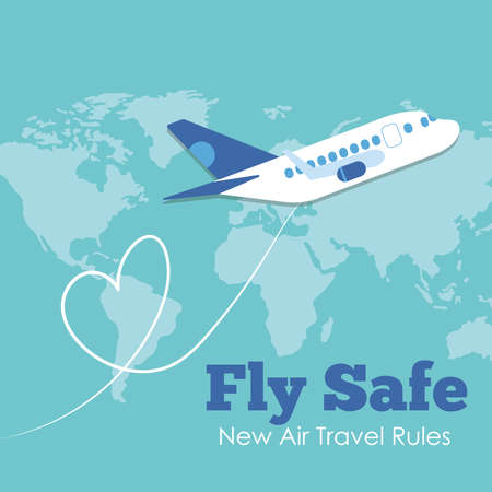 Illustration pour fly safe campaign lettering poster with airplane flying and earth maps vector illustration design - image libre de droit