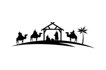 Illustration for holy family mangers characters in stable with camels black silhouettes vector illustration design - Royalty Free Image