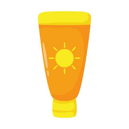Illustration pour sun blocker tube flat style icon vector illustration design - image libre de droit