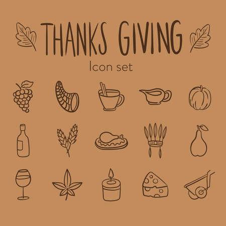 Illustration pour bundle of fifteen thanksgiving day set icons vector illustration design - image libre de droit
