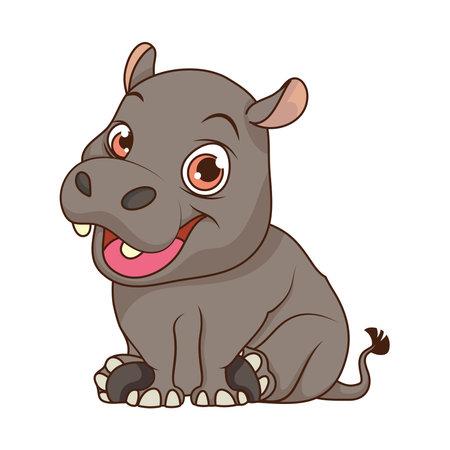 Ilustración de cute hippopotamus baby cartoon character vector illustration design - Imagen libre de derechos