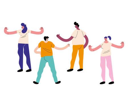 Ilustración de group of friends avatars characters - Imagen libre de derechos