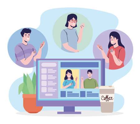 Illustration for people with desktop video conference - Royalty Free Image