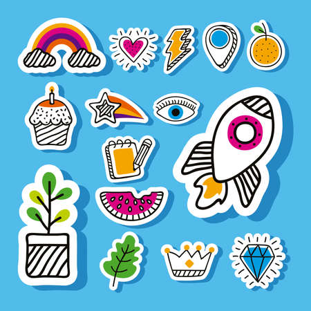 Illustration for doodle style fifteen set icons - Royalty Free Image