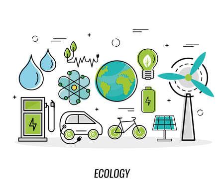 Illustration pour eleven green energy icons - image libre de droit