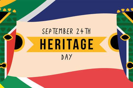 Illustration pour heritage day poster with masks - image libre de droit
