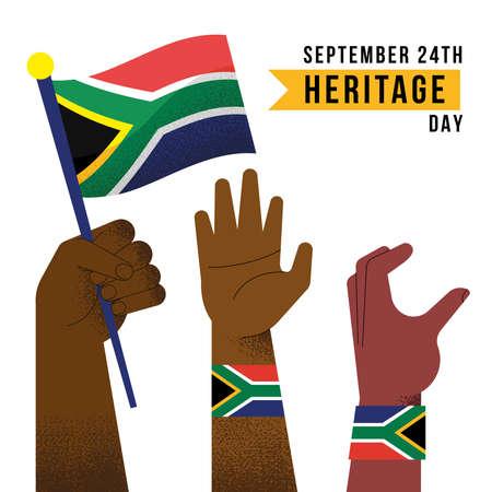 Illustration pour heritage day celebration with hands - image libre de droit