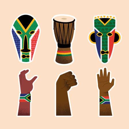 Illustration pour six heritage day set icons - image libre de droit