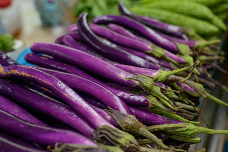 Foto de Purple long Chinese eggplants - Imagen libre de derechos