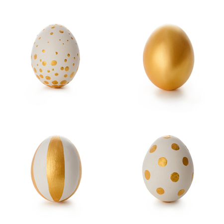 Foto per Set of golden Easter eggs - Immagine Royalty Free