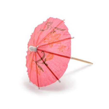 Photo pour Pink paper umbrella isolated on white background - image libre de droit
