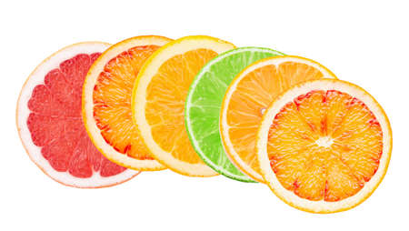 Photo for mix of citrus slices isolated on a white background. - Royalty Free Image