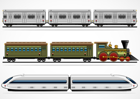 Illustration pour Three detailed railway transports from different ages - image libre de droit